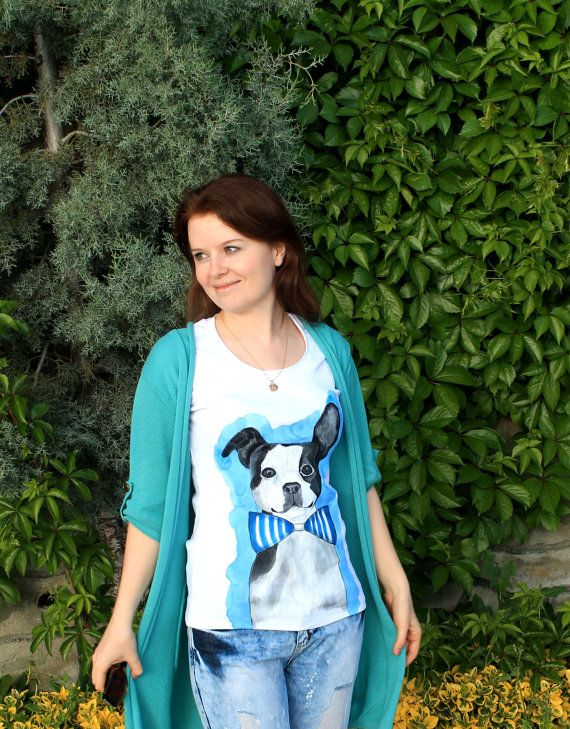 Funny french bulldog handpainted woman by Dariacreative on Etsy