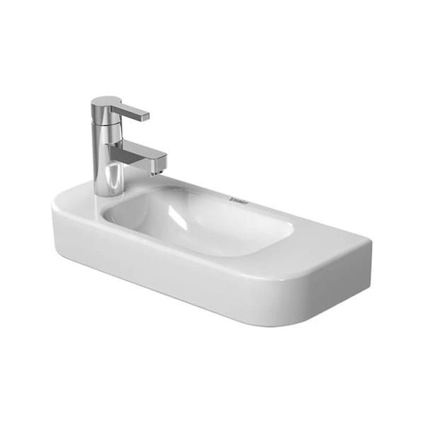 Duravit 0711500009 Happy D 2 Ceramic 19 5 8 Wall Mounted Bathroom Sink With Single Left Side Faucet Hole Wall Mounted Bathroom Sinks Duravit Porcelain Bathroom Sink