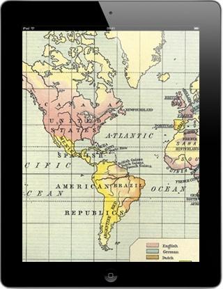 Gratis app met leuke en leerzame verzameling historische landkaarten met een hoge resolutie die je een beeld geven van de wereld door de tijden heen.