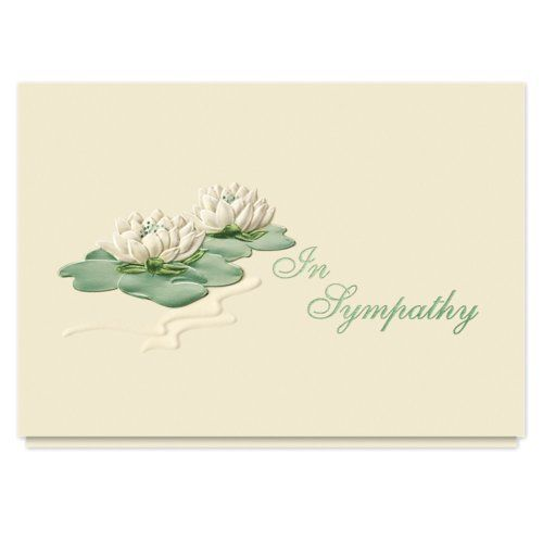 Sympathy Water Lilies Greeting Card - Pack of 25 Cards with Envelopes by The Gallery Collection. $60.06. The embossed water lilies convey a sense of peace and restfulness in this sympathy card. Choosing this card will enable you to convey your feelings to friends or associates with elegantly simple taste.