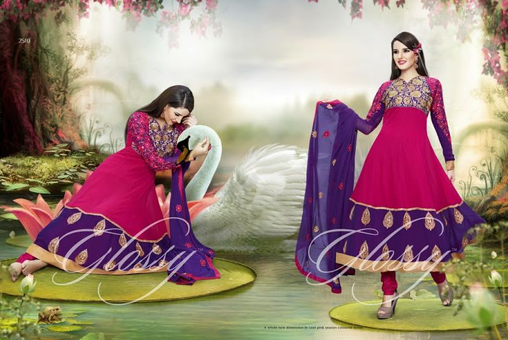 Glossy Georgette Red Semi Stitched Salwar Suit