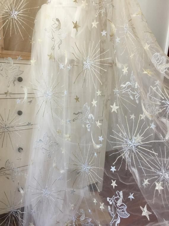Stars Pegasus Embroidery Net Mesh Fabric Dance Wedding Dress Making Sold By Yard