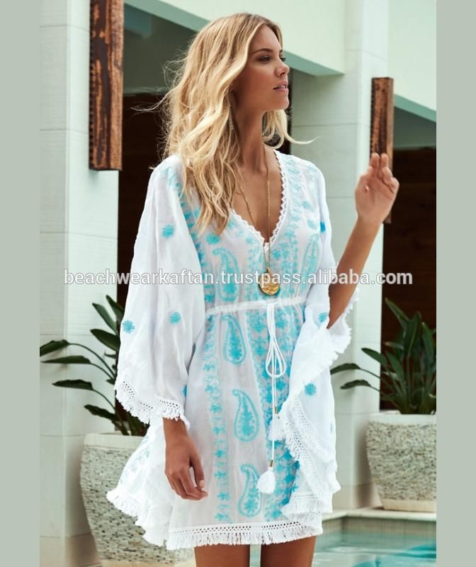 96159bc343 Designer Eye Catching Ladies Wear Rayon Beach Wear Kaftan /Poncho Beach  Cover Up Caftan With