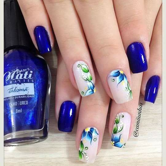 Nails show originality and your personality, I love how they used this royal blue nail polish- to find different designs for your nails follow me on my board Nail Arts