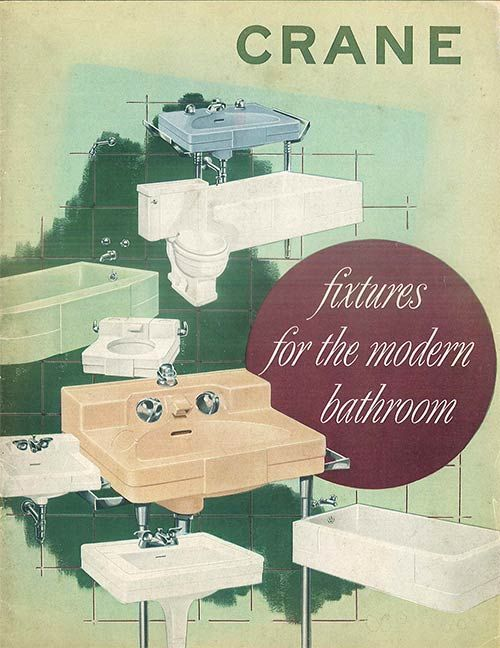Crane-bath-fixtures-catalog-cover-1949  I love these vintage sinks with the built in ceramic faucets.  I've seen them at Caravatis.