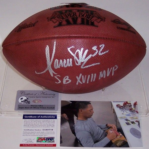 2d15d19ac60f ... Marcus Allen Autographed Hand Signed Super Bowl 18 XVIII Official NFL  Leather Football - PSA ...