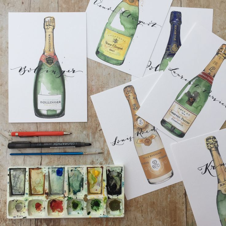 Hand painted champagne bottle table name cards and table plan for your wedding reception