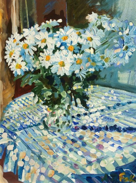 """ARTFINDER: Fresh Daisies by Anthony Fowler - A still life painted on a sunny day in my studio . Painted in a very direct technique . The works of Monet and Bonnard were an inspiration for this """"observe ..."""
