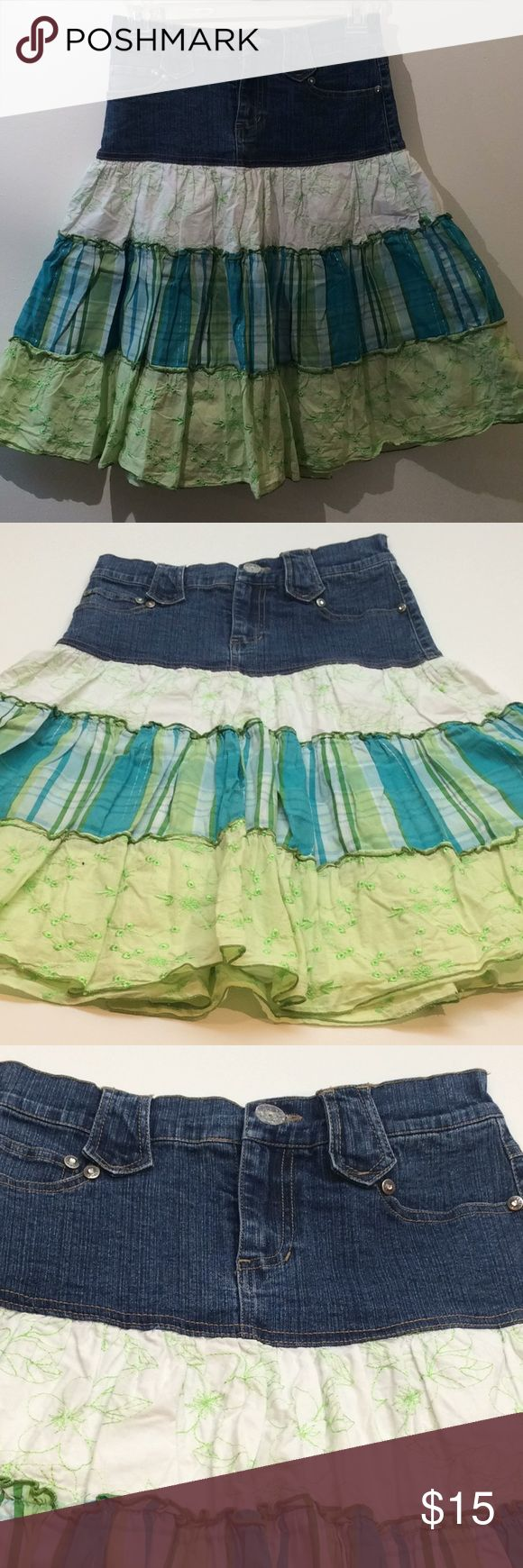 Candie's Denim and Cotton Bohemian Layered Skirt Plain and simple, this skirt is freaking adorable.  The downside is, the cotton skirt either needs to be ironed, or taken out of the dryer and hung slightly damp so as not to wrinkle. Do kids worry about wrinkled clothing anymore? Candie's Bottoms Skirts