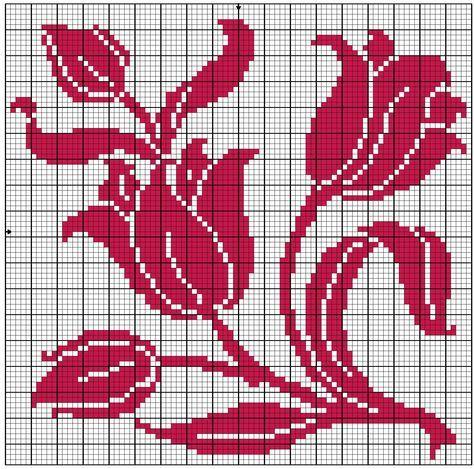 filet crochet patterns tulips | Square 54