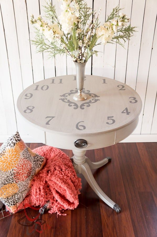 Stenciled Clock Table- Mahogany Leather Top Drum Table - painted furniture - www.designeddecor.com