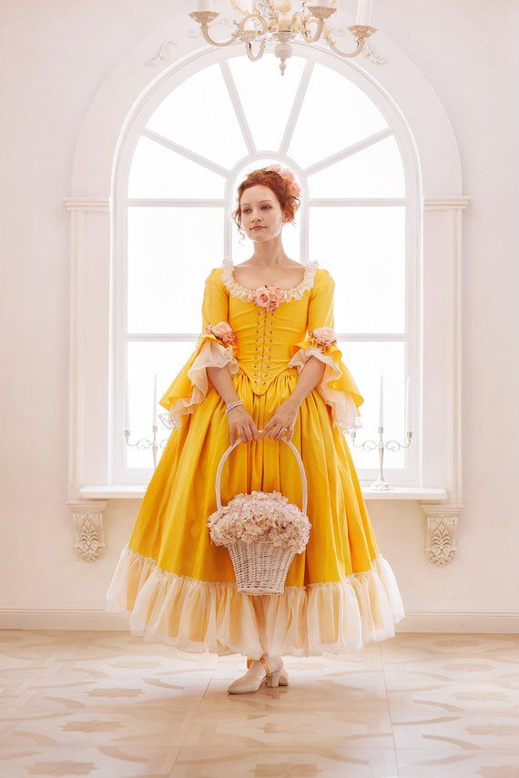 00300e71bc2b Rococo period 18th century yellow flowered dress with underskirt, and built  in bodice corset