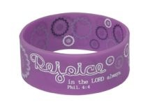 WRISTBANDS: REJOICE  Size: 63 x 25 mm  Individually packaged on a backing board