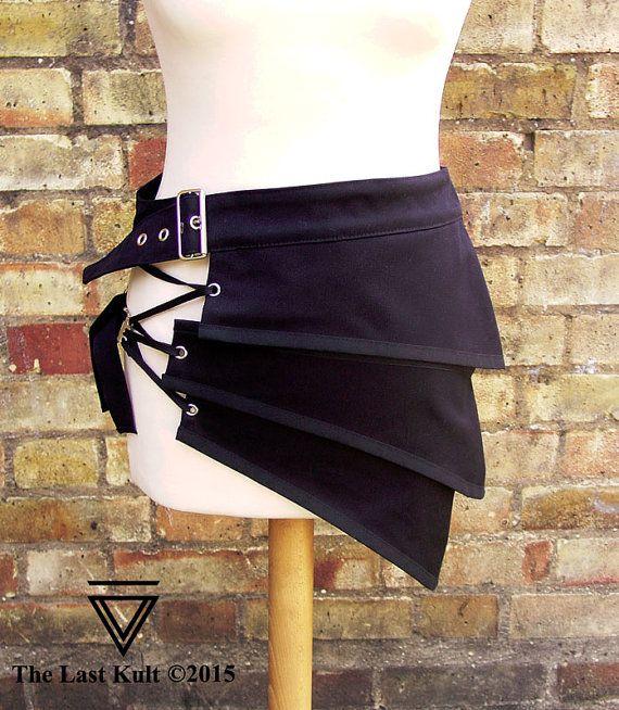 Distópica apocalíptico mitad minifalda ropa moda unisex alternativa negra