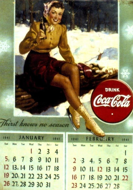 Coca-Cola Calendar January and February 1941