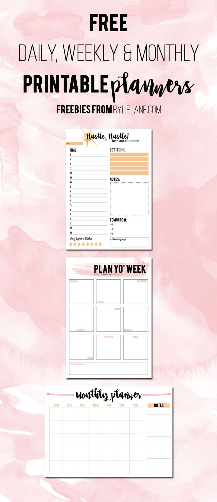 Free Printable Daily, Weekly & Monthly Planners - Stay on top of your organization game with these 2017 planning sheets