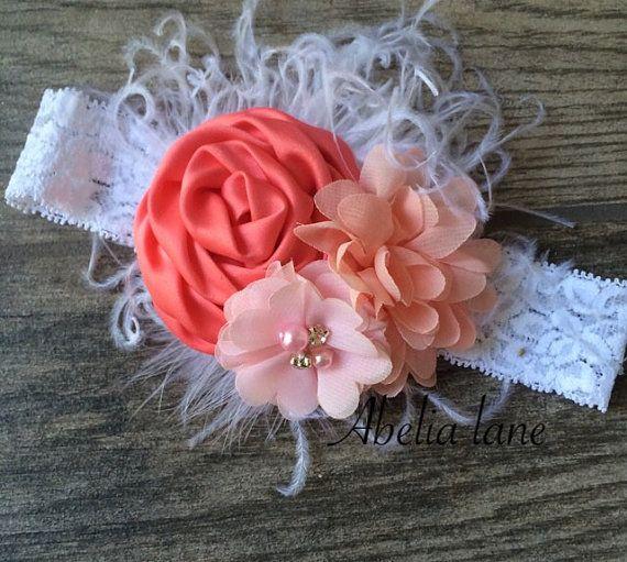 Coralpeach and pink feather headbandbig by Abelialane on Etsy