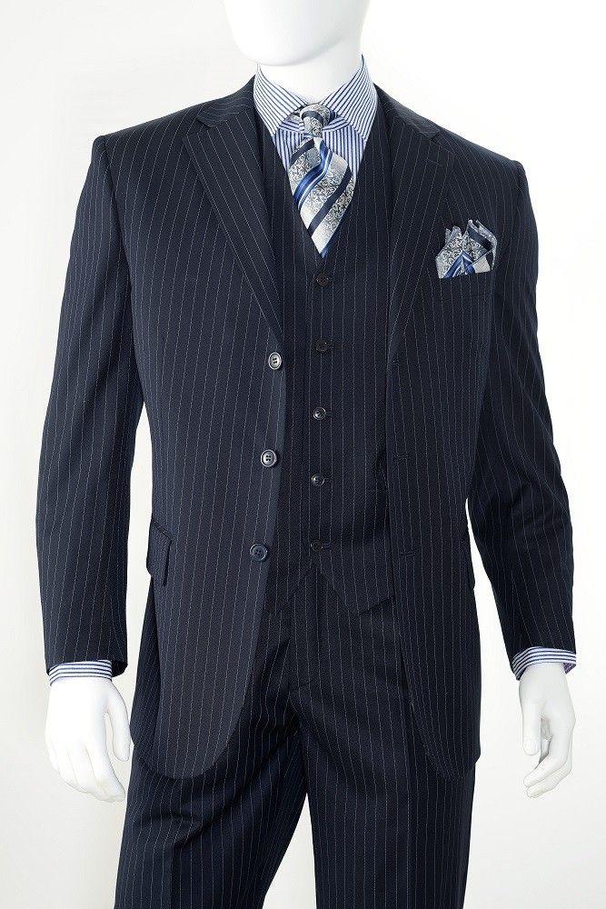 Vittorio St. Angelo Mens Navy 3 Piece 3 Button Pinstripe Suit T63ETS