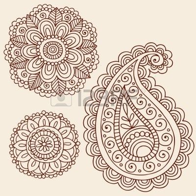 Hand-Drawn Henna Mehndi Tattoo Flowers and Paisley Doodle  Illustration Design Elements photo