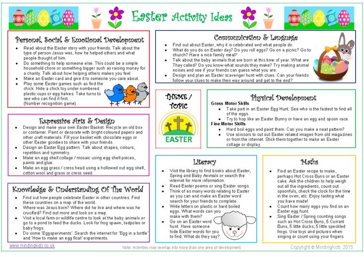 FREE RESOURCE! Keep the kids busy and help them to learn about Easter with this FREE activity ideas sheet! Links activity ideas to the areas of learning and development!