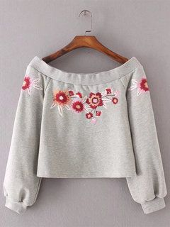 Sexy Vintage Embroidery Off Shoulder Women Hoodies