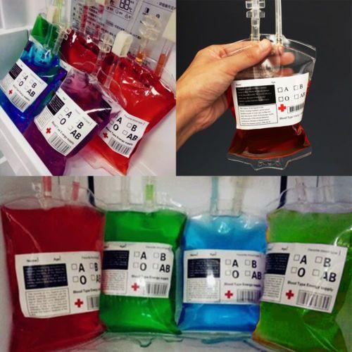 Blood Bag Hallowen Reusable Energy Drink PVC Bottle Vampire Prop Pouch Cosplay Halloween fake blood bags transparent color