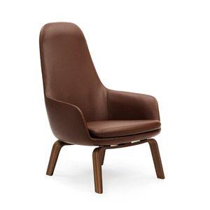 Fotel wysoki Era na drewnianych nogach