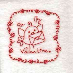 My Valentine bird embroidery