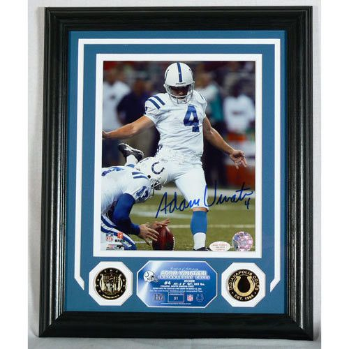 Adam Vinatieri Autographed Colts Photomint with Gold Coins