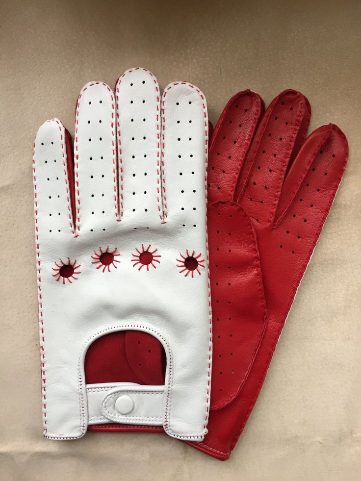 Driving+Gloves+For+Men+Italian+lambskin+Napa+Red+and+White+Sheep-skin+leather+Size+8+inches+M