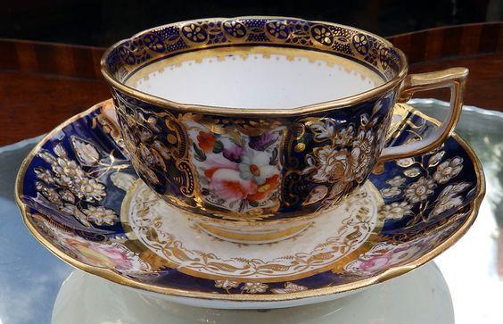 Similar to mine,Antique Fine Porcelain : A fine Coalport bouquet moulded Tea Cup and Saucer, 1810-1825, askin £268: