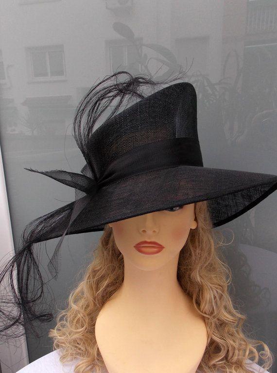 Vintage style hat Black sinamay hat Wedding hat by LidiaArtThings