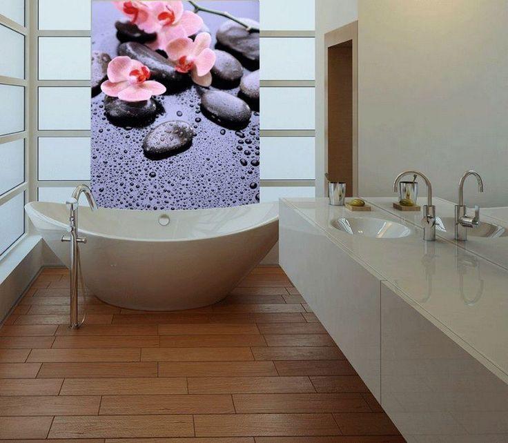 Great Badezimmer mit Fototapete dekorieren Orchideen und Flusssteine
