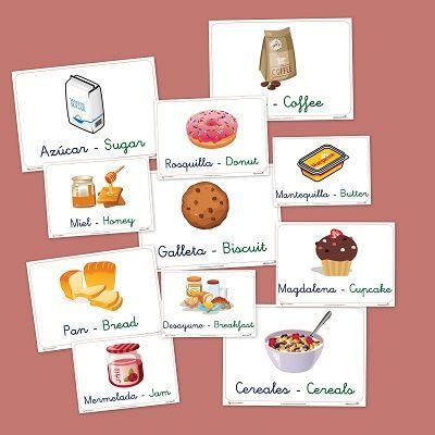 Fichas de vocabulario básico en castellano e ingles: Alimentos del desayuno