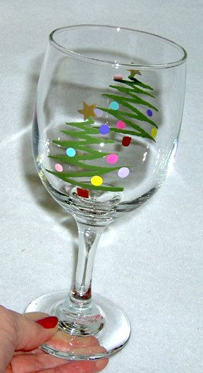 Christmas Tree Wine Glass Hand Painted by ConniesCreations2010