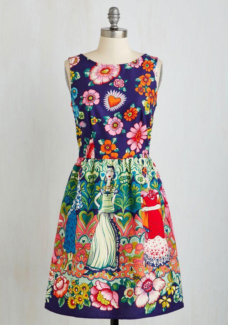 Frida Your Mind Dress   Mod Retro Vintage Dresses   ModCloth.com