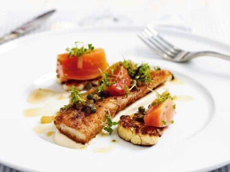 Fried bass with celeriac cream and elderflower marinated beets