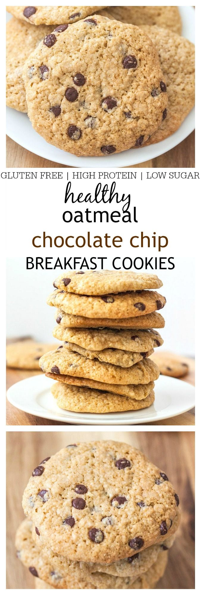 Healthy Oatmeal Chocolate Chip Breakfast Cookies- 1 bowl and 10 minutes is all you'll need for these chewy cookies- Gluten Free, High in protein + Vegan option! @thebigmansworld -thebigmansworld.com