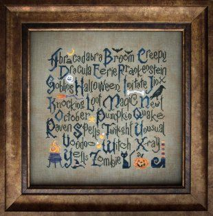 """Halloween Sampler"" is the title of this wonderful Halloween cross stitch pattern from Cottage Garden Samplings."
