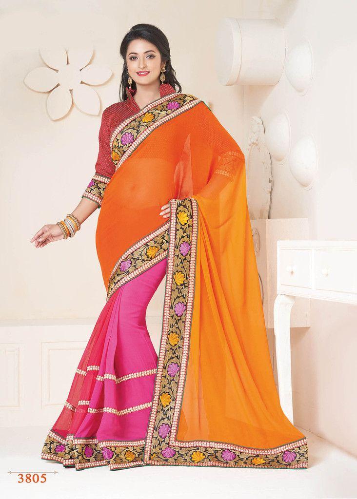 Buy Orange Color Georgette Chiffon Party Wear Saree Online – Fashionic: Indian Ethnic Wear