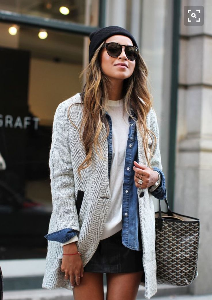Tweed coat. Chambray button down. White long sleeve.