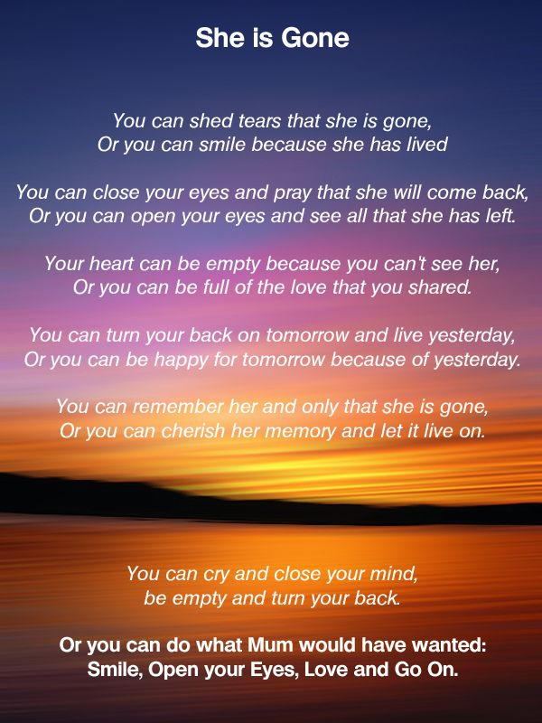 She is Gone - poems about death