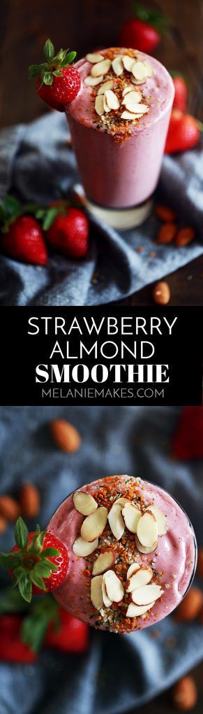 This four ingredient Strawberry Almond Smoothie takes just five minutes or less to prepare. Frozen strawberries, Greek yogurt, almond milk and almond butter whirl together to create this smooth and luxurious treat that's not only perfect for breakfast but also for lunch or a post-workout treat.