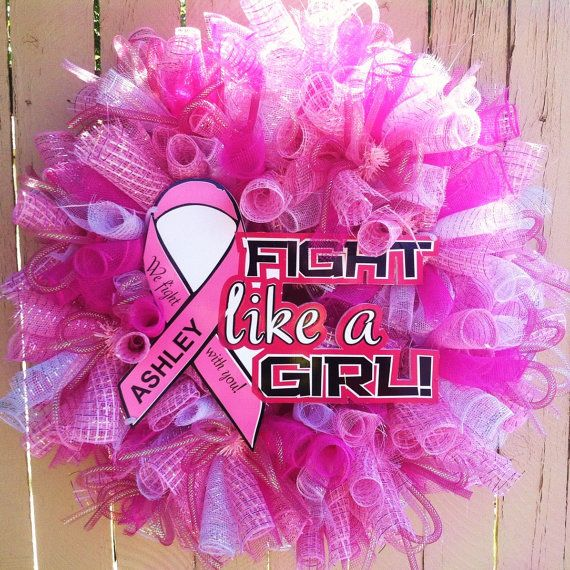 Personalized Breast Cancer Awareness Deco Mesh Wreath
