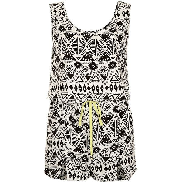 **Alaina Aztec Playsuit by Goldie ($35) ❤ liked on Polyvore featuring jumpsuits, rompers, dresses, playsuit, vestidos, jumpsuit, ivory, white jumpsuit, jump suit and aztec jumpsuit