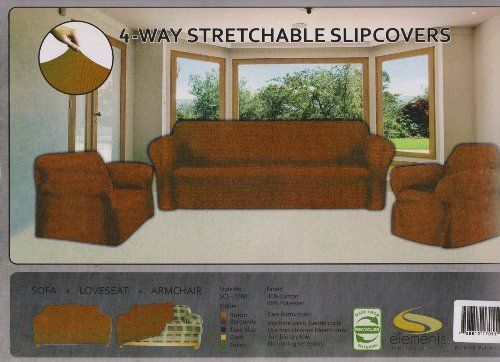 STRETCH FORM FIT  3 Pc Slipcovers Set CouchSofa  Loveseat  Chair Covers  BROWN ** Check out this great product.Note:It is affiliate link to Amazon.