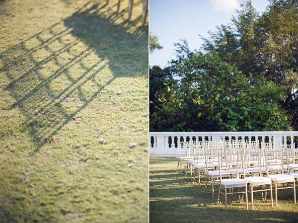 Gold Tiffany chairs for outdoor wedding