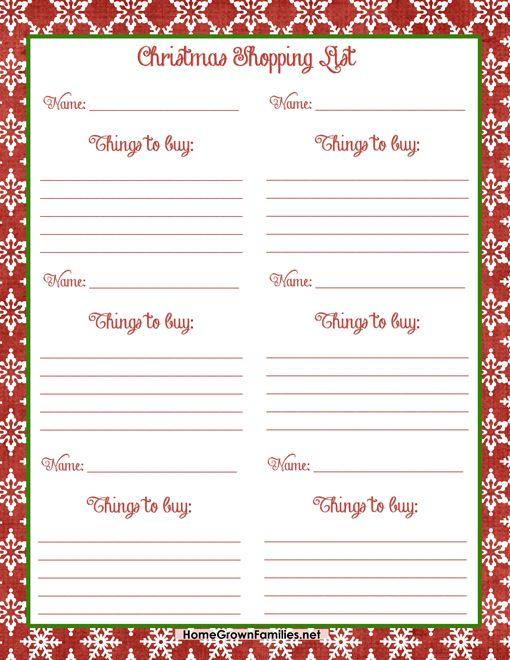 17 Best ideas about Christmas Shopping List – Christmas Dinner Shopping List Template