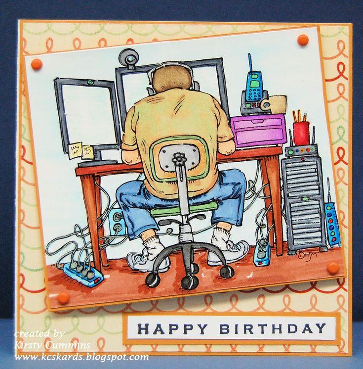 KCs Kards: Computer Geek -- Happy Birthday Adam