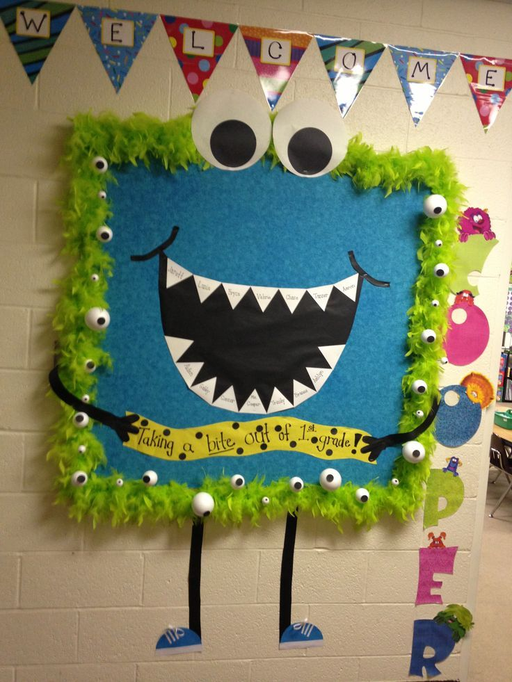 Monster themed bulletin board... Taking a bite out of first grade... Place the students names on the teeth.